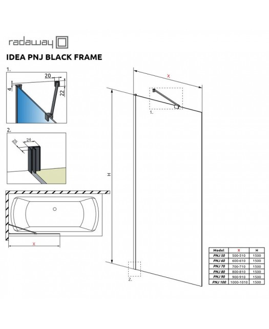 Штора для ванны Idea Black PNJ 70 Frame (Radaway) 700x1500